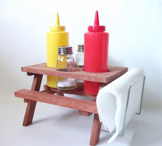 Vintage Condiment Set Redwood Picnic Table Condiment Vintage Kitchenware Dispensers
