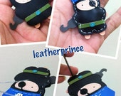 Hez the Pirate Leather Keychain ( Black / Blue )