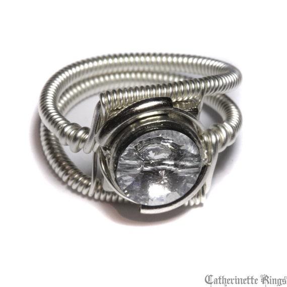 Steampunk Jewelry - Ring - Clear Swarovski Crystal