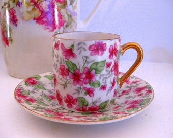 Japan Pink Chintz Forget Me Not Demitasse Tea Cup