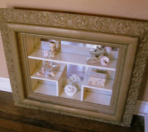 Antique Gesso Curio Display Shelves Shadow Box Frame And