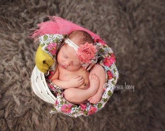 Hedessa - Mauve Rose Pink Shabby Chic Rosette Lace Headband - Gray Ruffles Cream - Baby Infant Newborn Girls - Photo Prop