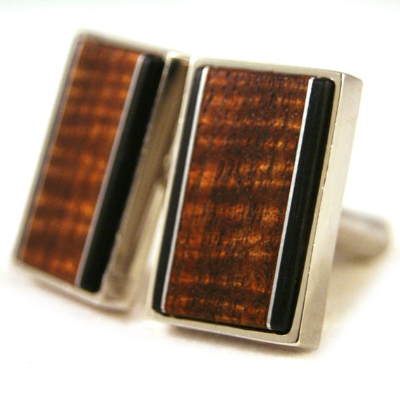 Cufflinks - Curly Old Growth Hawaiian Koa with Aluminum and Ebony Accents in Sterling Silver Bezel (CL-468)