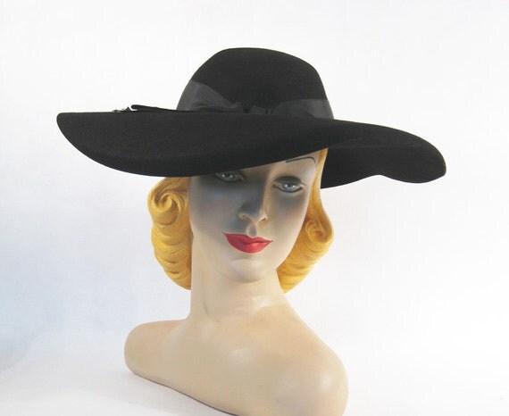 Vintage 1940s 40s Hat Black Wool Curved Wide Brim