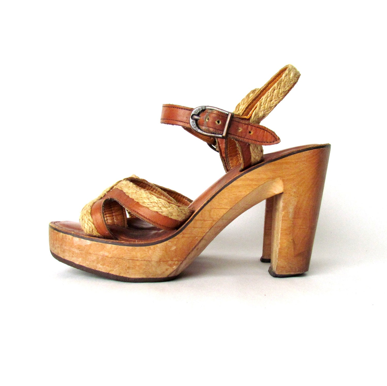 vintage 70s shoes wood platform 7 5 8