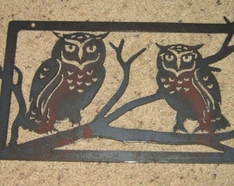 Two Owls in Tree-Metal Art- Home decor-Wall art-owls