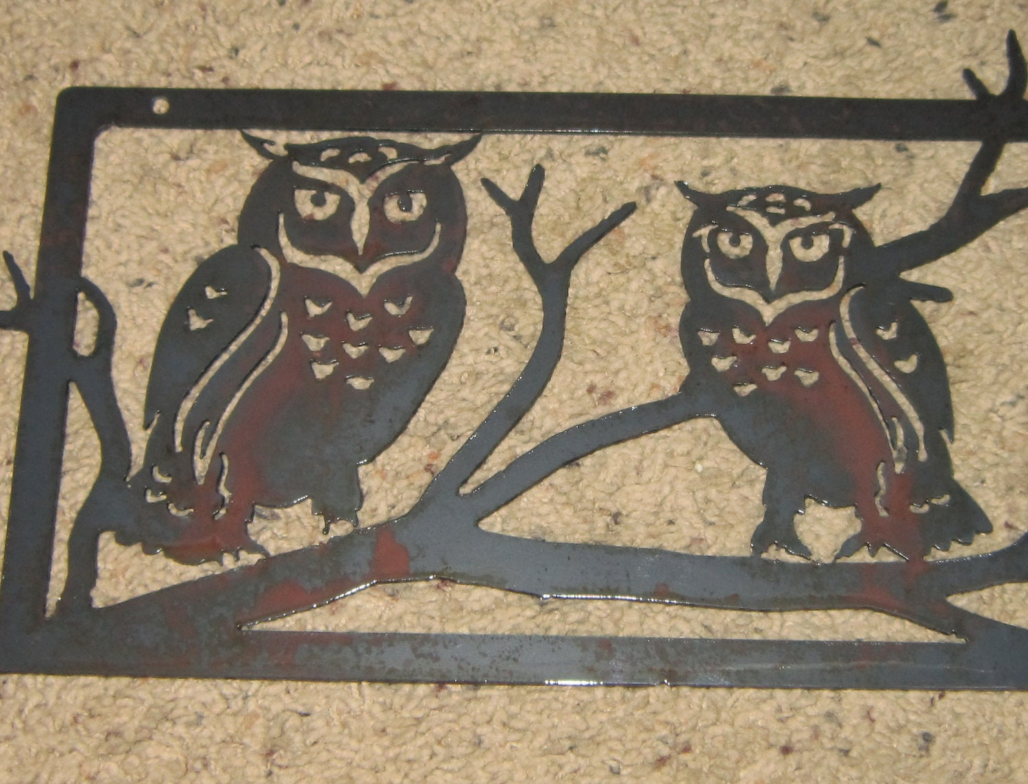 Metal Owl Wall Decor two owls in tree-metal art home decor-wall art-owls
