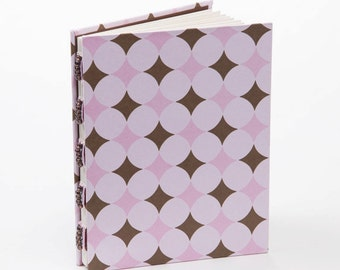 Pink and brown handmade journal, small notebook, gift under 15, gift for her