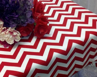 CHEVRON RECTANGLE Tablecloth  Zigzag Red and white zig zag-  Chevron-  Holiday- Christmas- Wedding- Bridal- 54 60 84 96 108