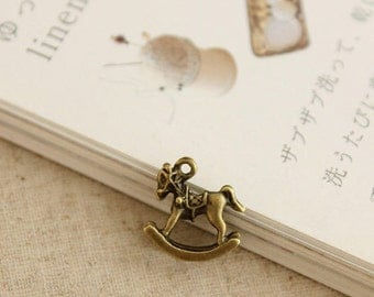 5pcs 14x14mm antique bronze rocking horse charms pendants (J23)