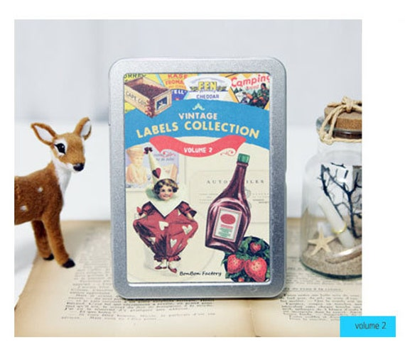 Set of 24 Sheets Vintage Labels Stickers Tin Case Collection Vol.2 (P177.6)