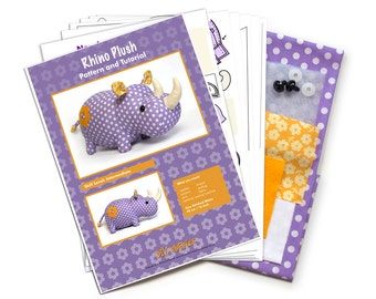 Cotton rhino sewing diy kit - sew an adorable stuffed rhino