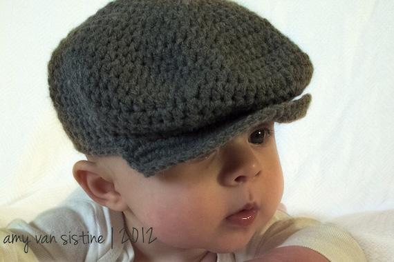 Newsboy Brim Crochet Baby hat, Crochet Photography prop - Made to Order