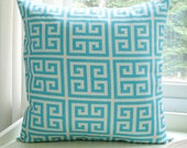 Turquoise Pillow Cover Decorative Pillow 22x22 Cushion cover Greek Key Pillow - BlossomPillowCo