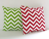 Chevron Pillow Covers Striped Pillows Christmas Pillows Size Choice Red Pillow Green Pillow Decorative Pillow Holiday Decor