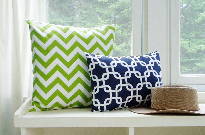 Lime Green Chevron Throw Pillow : Chevron Pillow Cover Lime Green Zig Zag Throw Pillows Accent