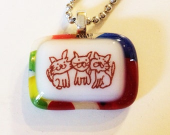 Cats times three glass fused necklace