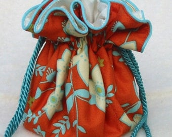 Summery Jewelry Bag, Pouch in orange and aqua, Travel Organizer, Bag, tote