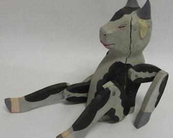 Primitive Carved Vintage Wooden Holstein Cow