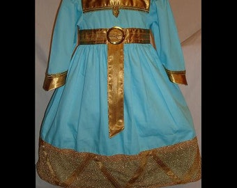 Brave Merida Aqua Fancy Dress(-----)Gold fabric Gold trims(-----)Made to order sizes 12 months to girls size 8