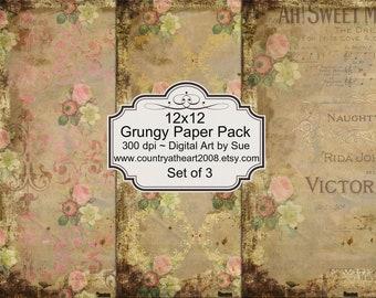 12x12 Grungy Paper Pack -  Printable Digital Collage Sheet - Digital Download Scrapbooking