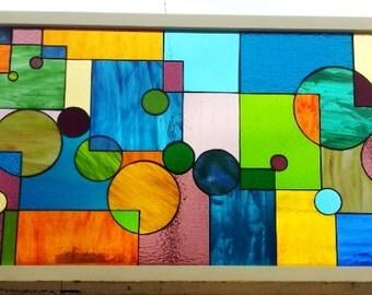 """Stained glass window - """"Geometric Splash II"""" (W-37)"""