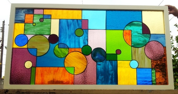 Stained glass window Geometric Splash II W-37