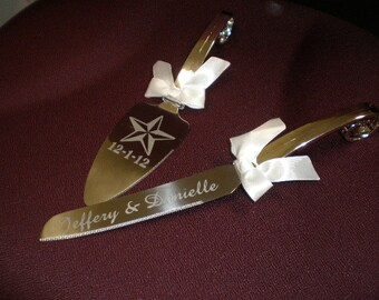 Personalized Cake Serving Set Rustic Star Design with Name and Date