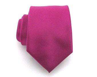 Raspberry Mens Necktie - Raspberry Persian Rose Pink Men's Silk Ties