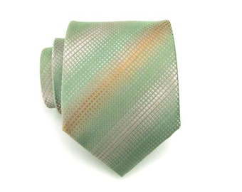 Mens Tie - Green Gray Orange Silk Necktie