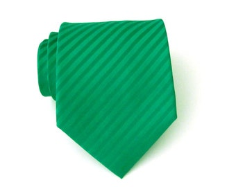 Mens Ties Green Necktie - Kelly Green Tone on Tone Striped Tie With Matching Pocket Square Option