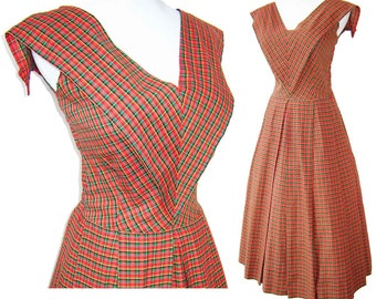 Vintage 50s Dress Red Plaid Rockabilly Middy Cotton Pleated Skirt M