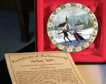 P Buckley Moss  Anna Perenna Christmas Ornaments Christmas Skaters Signed by ARTIST EXCLUDED From all Coupon Codes