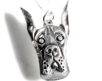 Great Dane Necklace Jewelry Sterling Silver Dog Pendant Personalized