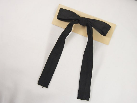 Black Western Style Vintage 40s Clip Bow Tie by Penwood