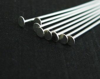 Headpins-Sterling Silver Flat Head Pins, T Pins - 24Ga - 1 inch-Jewelry Making Supplies (50pcs) SKU: 204401-2410