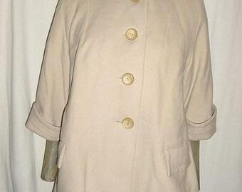 Vintage 50s Wool Swing Ladies Jacket Creme Spring M