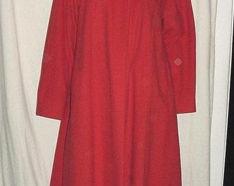 Vintage 50s Red Ladies Wool Swing Coat Sm As Is