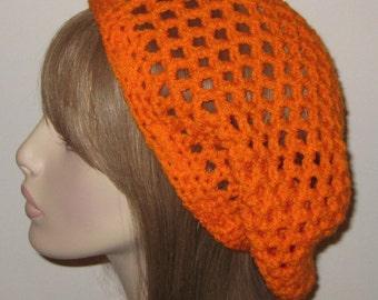 Pumpkin Open Stitch Slouchy Beanie Dread Tam Hat Crochet Snood