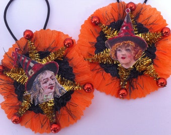 Halloween WITCH w/orange #3 vintage style chenille ORNAMENTS set of 2 round medallions