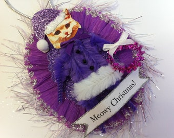 CAT CHRISTMAS ORNAMENT cat Santa Claus ornament purple Santa Claus kitty cat vintage style chenille ornament oval medallion