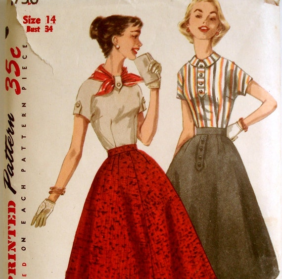 Vintage 50s Flared Skirt & Kimono Blouse Pattern Simplicity 1736 Bust 34