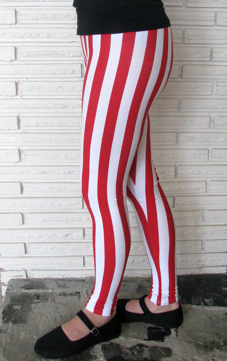 Red And White Vertical Striped Leggings