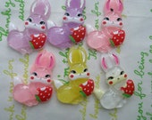 B Grade Bunny with strawberry cabochons 6pcs 002