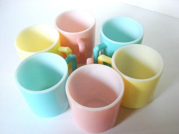Vintage Hazel Atlas Pastel Children's Mugs Turquoise Pink Yellow