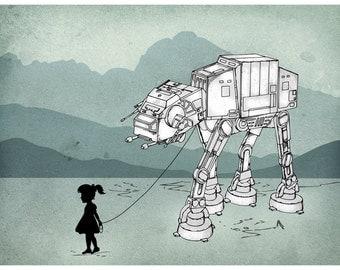 My Star Wars AT-AT Pet - Digital Art Print  ( Star Wars art print / Star Wars , ATAT print )