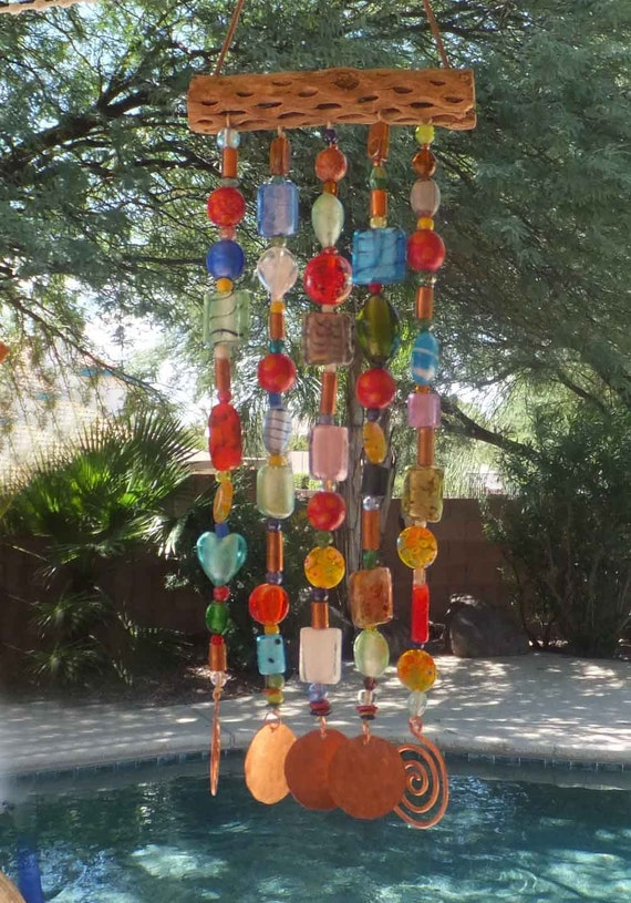 Beaded Wind Chime ( windchime ) Sun Catcher ( suncatcher ) on Cholla Wood with Glass Beads and Copper
