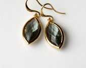Gold Dangle Earrings, Grey Glass, Black Diamond, Sparkle, Gold Metal, Elegant