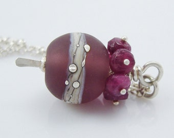 Lampwork Glass and Raspberry Pink Tourmaline Pendant with Silver Chain - StoneGems