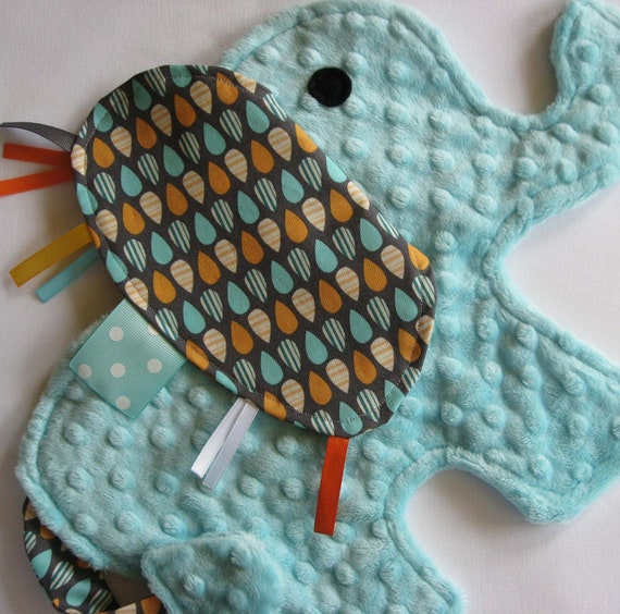 Splash Aqua Elephant Baby Security Blanket
